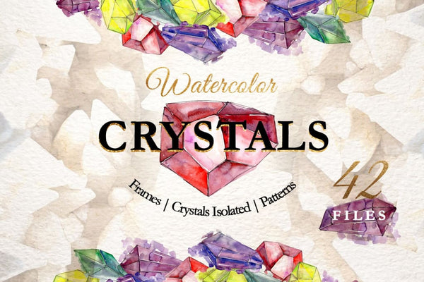 CRYSTALS Watercolor png Digital