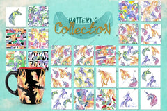 Cute Unicorn Horse Png Watercolor Collection Set Digital