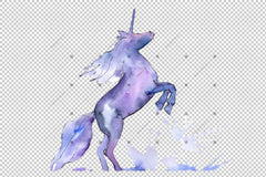 Cute Unicorn Horse Png Watercolor Set Digital