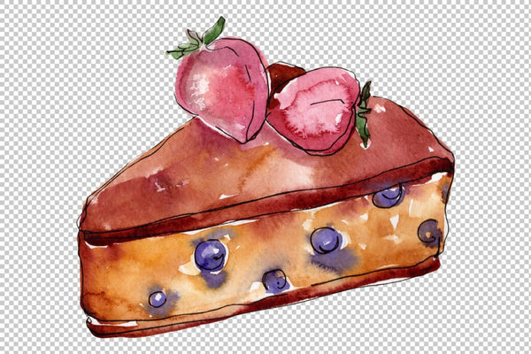 Dessert Cake with Chocolate and Croissant Watercolor png Flower