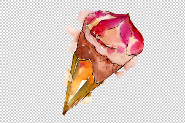 Dessert ice cream fruit Watercolor png Flower