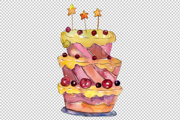Dessert Mamulin cake watercolor png Flower