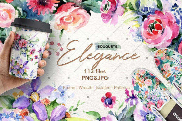 Elegance Bouquets Png Watercolour Set Digital