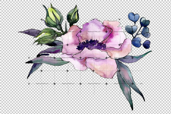 Elegant Pink Bouquet Png Watercolor Set Flower