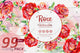 Elegant red roses PNG watercolor set