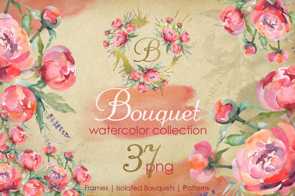Euro Bouquet pink Watercolor png Digital
