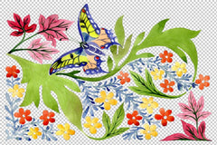 European floral ornament watercolor png Flower