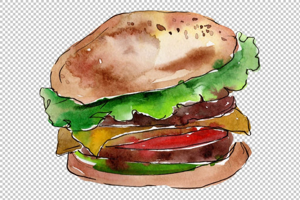 European Hamburger Watercolor png Flower