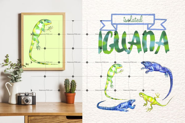 Exotic Iguana In A Watercolor Png Set Digital