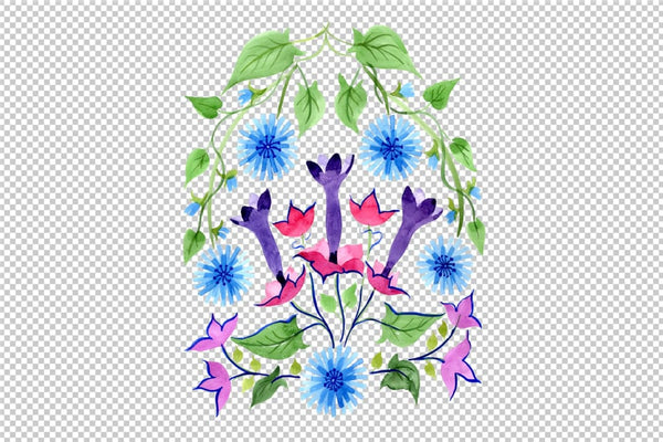 Exotic ornament watercolor png Flower
