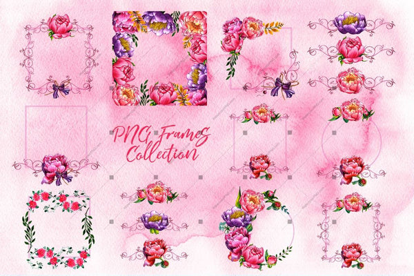 Exquisite Peonies Png Watercolor Flower Set Digital