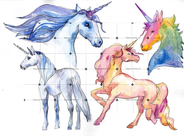 Fabulous Unicorns Horse Png Watercolor Set Digital