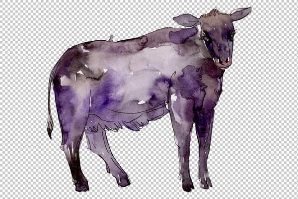 Farm animals: bull Watercolor png Flower