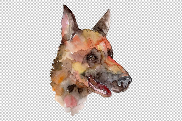 Farm animals dog head Watercolor png Flower