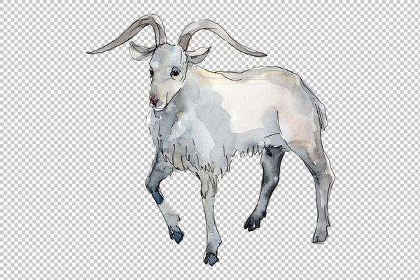 Farm animals: Goat Watercolor png Flower