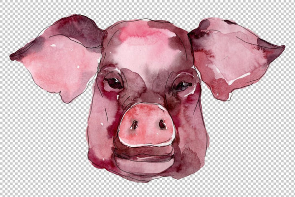 Farm animals: pig head Watercolor png Flower