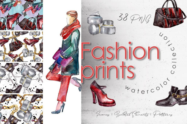Fashion prints Watercolor png Digital