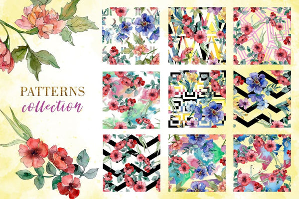 Fashion prints with Wildflowers Watercolor png Digital