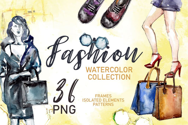 Koleksi Fashionable Super Style Watercolor png Digital