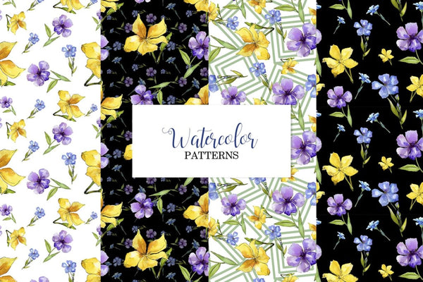 Flax Blue and yellow fowers Watercolor png Digital