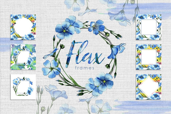 Flax blue Watercolor png Digital