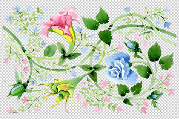 Floral watercolor pattern png Flower