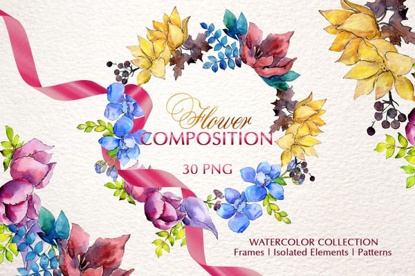 Flower composition Watercolor png Digital
