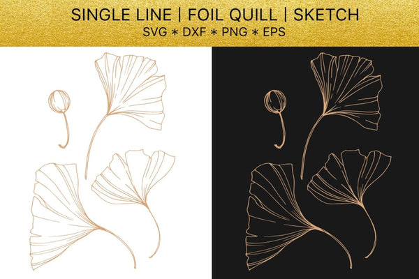 Foil quill SVG golden crystals. Single line design. Digital