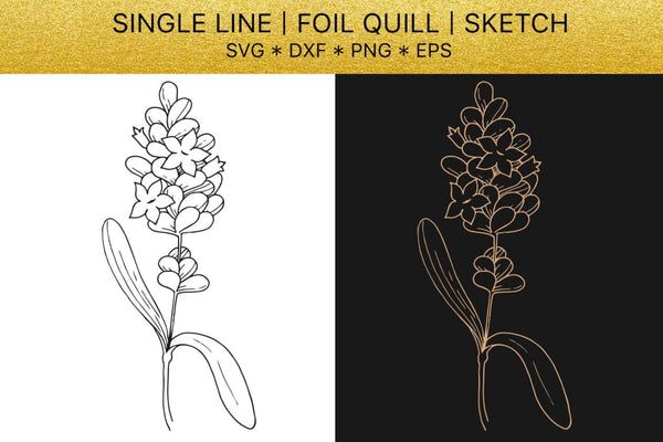 Foil quill SVG golden Lavender. Single line design Digital