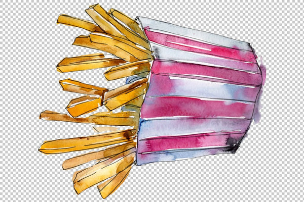 French fries Watercolor PNG Flower