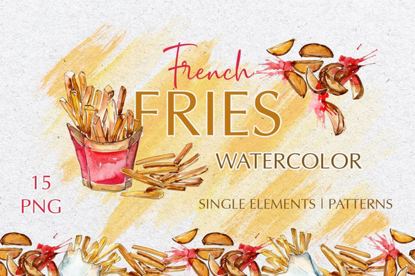 French fries Watercolor png Digital