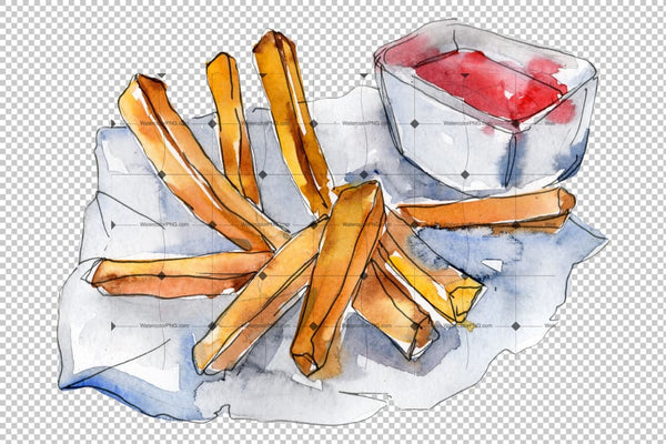 French Fries With Sauce Watercolor Png Flower