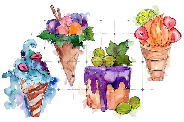 Fruit Dissert Watercolor Png Flower