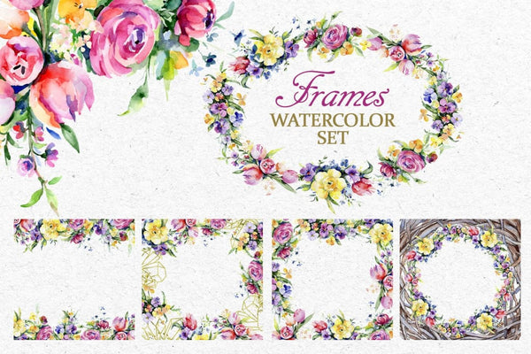 Gentle flower Bouquets Watercolor png Digital