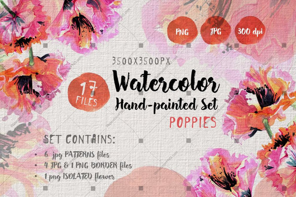 Poppies Poleis Png Watercolour Set Digital