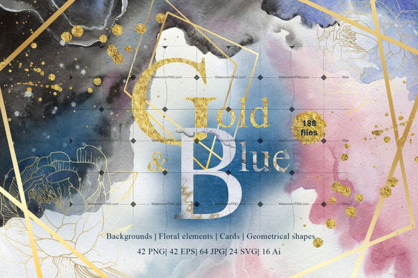 Gold And Blue Watercolor And Vector Set Svg Png Eps Jpg Digital