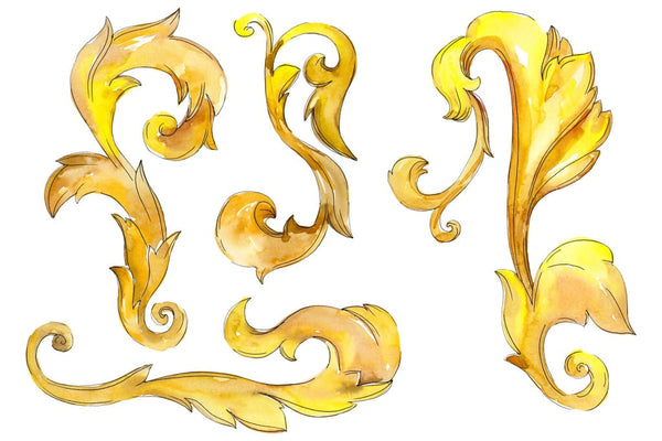 Gold monograms 3 Watercolor png Flower