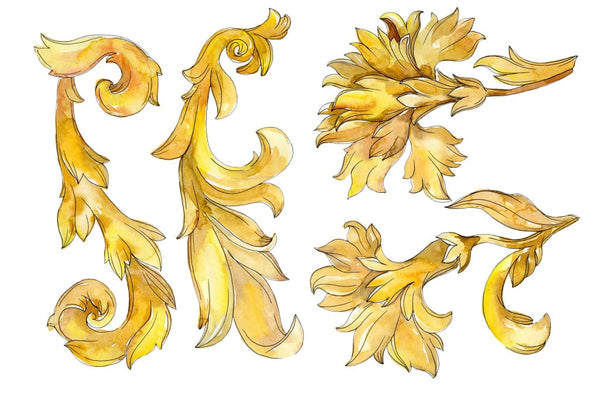 Gold monograms Watercolor png 2 Flower