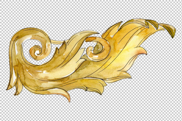 Gold monograms Watercolor png 4 Digital