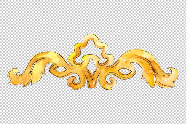 Gold monograms Watercolor png Flower