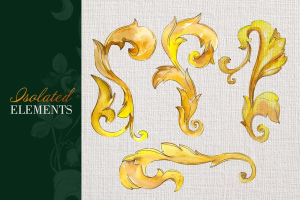 Gold super Monograms Watercolor png Digital