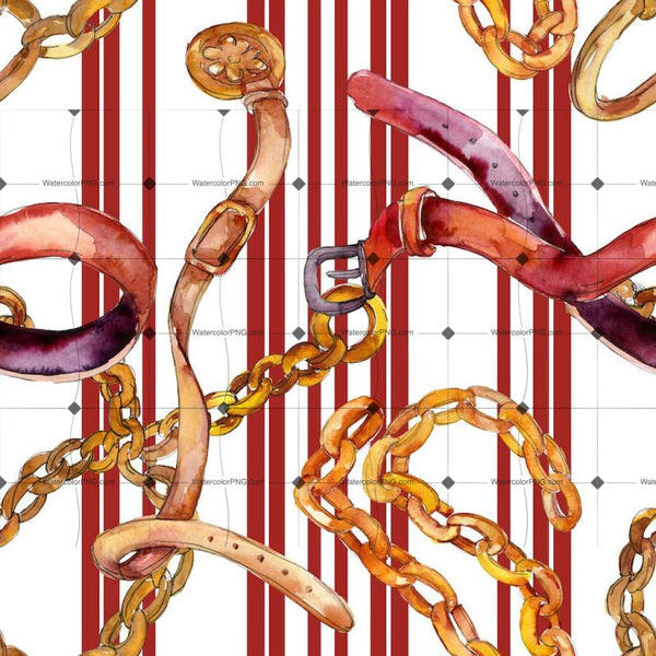 Golden Chain And Leather Belt Glamour Watercolor Illustration Design