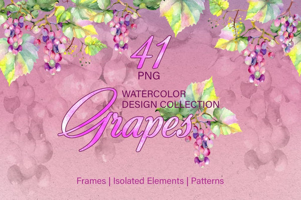 Grapes Watercolor png Digital