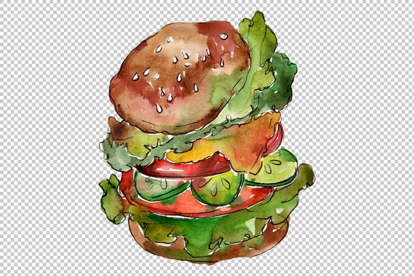 Hamburger for gentleman watercolor png Flower