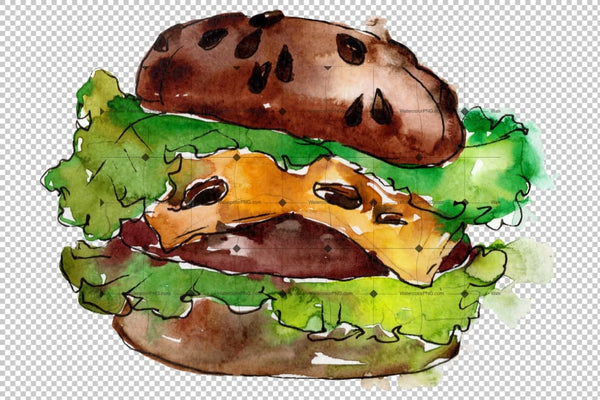 Hamburger Watercolor Png Flower