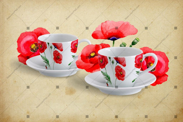 Budle Pink Watercolour Set Set Poppies Png