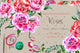 Holiday pink roses PNG watercolor set