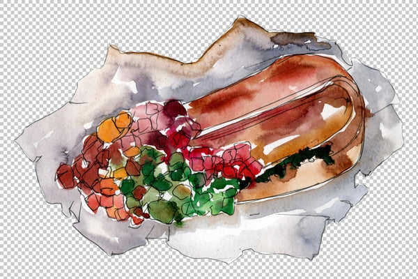 Hot dog in Ukrainian watercolor png Flower