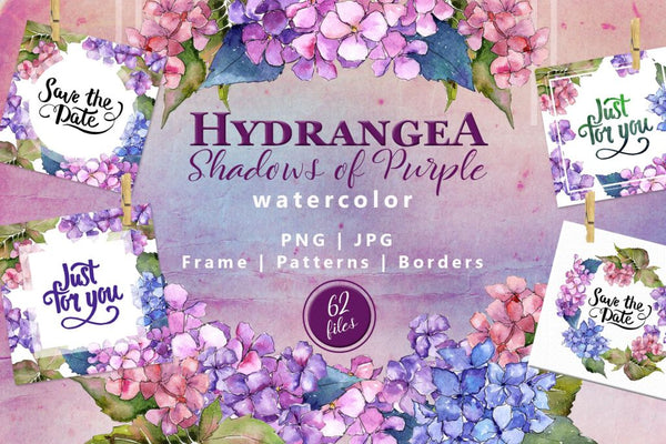 Hydrangea Png Watercolor Flower Set Digital