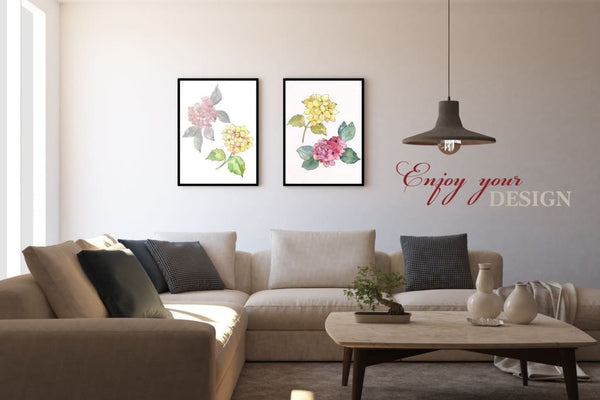 Hydrangeas Yellow-pink Watercolor png Digital
